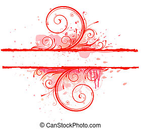 Floral Decorative banner - Vector illustration of Grunge...