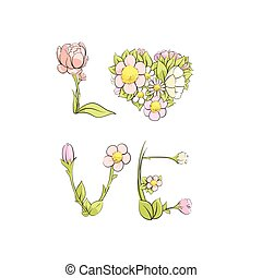 card for a loved one - The word love of delicate flowers