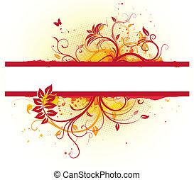 Floral Decorative frame - Vector illustration of Grunge...