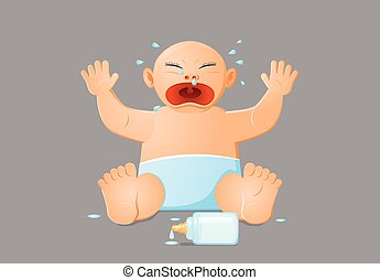 Baby crying over spilled milk vector icon - Vector...