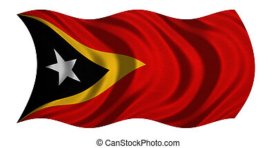 Flag of East Timor wavy on white, fabric texture - East...