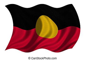 Australian Aboriginal flag wavy on white, textured