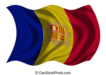 Flag of Andorra wavy on white, fabric texture