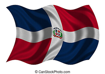 Dominican Republic flag waving, fabric texture - Dominican...