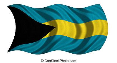 Flag of Bahamas wavy on white, fabric texture - Bahamian...