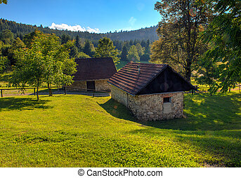 Mountain hut, Slovenia - View of mountain hut in the...