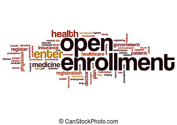 Open enrollment word cloud concept