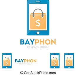 Vector package and phone logo combination. Shop and mobile symbol or icon. Unique buy and sale logotype design template.