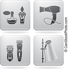 Bathroom utensils - Bathroom theme icons set covering...
