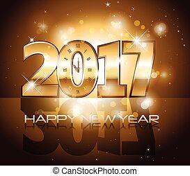 Vector 2017 Happy New Year background with gold clock