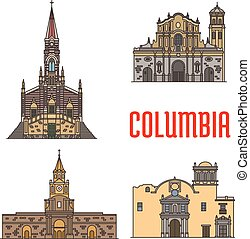 Tourist architecture landmarks of Colombia. Vector Cathedral...