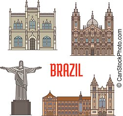 Tourist attraction architecture landmarks in Brazil. Christ...