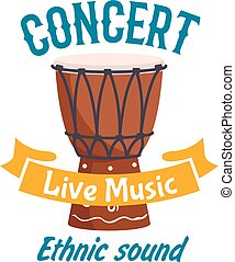 Live music concert isolated vector label emblem - Live music...
