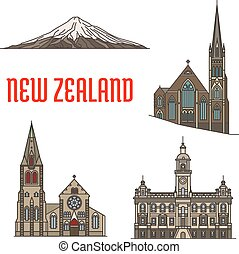 New Zealand tourist attractions and landmarks. Mount...