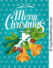 Jingle bell with fir branch Christmas card design - Merry...