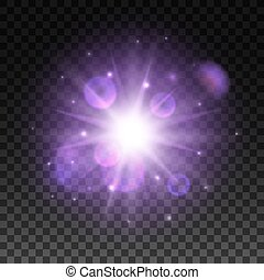 Light shining in space with lens flare effect - Light...