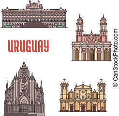 Uruguay architecture tourist attraction icons. Legislation...