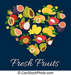 I love fresh fruits emblem in heart shape with flat icons of...