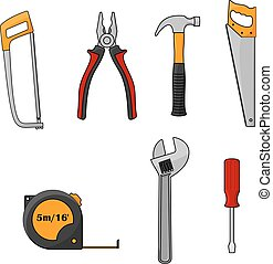 Repair and construction work tools isolated icons