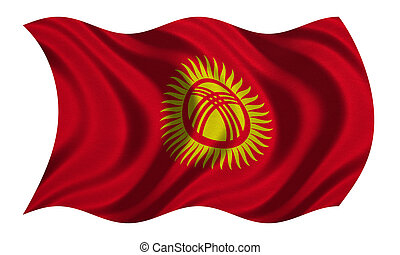Flag of Kyrgyzstan wavy on white, fabric texture -...