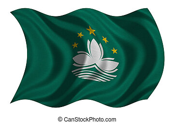 Flag of Macau wavy on white, fabric texture - Macanese...