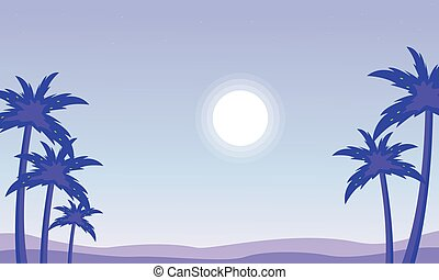 Silhouette of palm and sun landscape vector illustration