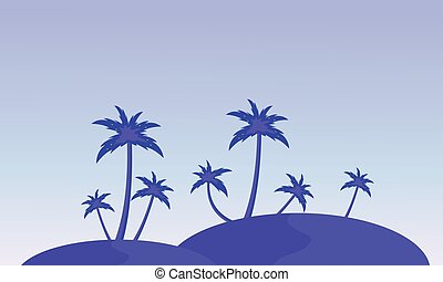 Silhouette of hill and clump palm landscape vector
