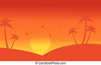 Silhouette of palm and bird at sunset scenery vector