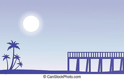 Silhouette of pier and palm scenery vector illustration