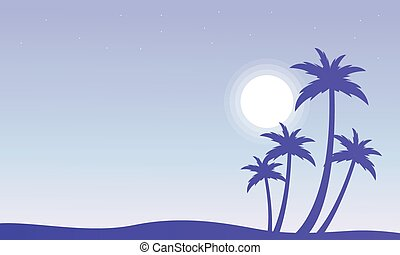Palm and sun silhouettes scenery vector illustration