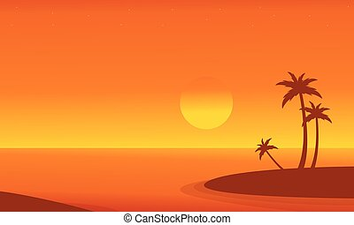 At sunrise seaside scenery vector flat illustration