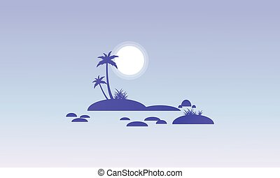 Island and rock on seaside silhouettes vector illustration