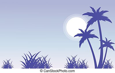 Silhouette of palm and grass scenery vector illustration