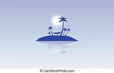 Silhouette of islands beautiful landscape vector...