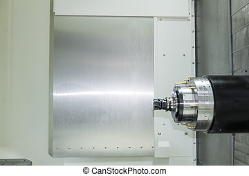 The horizontal CNCs machining center.The CNC machine cutting in horizontal axis