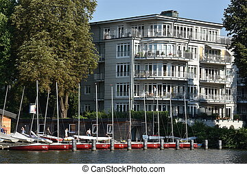 Lake Alster in Hamburg, Germany - View of Lake Alster in...