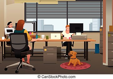 Business People Bringing Pet to Office
