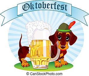 Oktoberfest dog - Oktoberfest Illustration of a sausage dog...