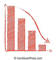 Chart sales fall with arrow like ship, pencil style, 2d...