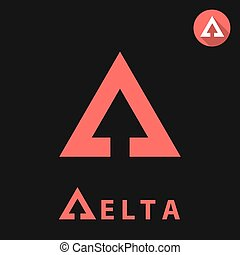 Delta letter icon, 2d vector logo illustration on black...