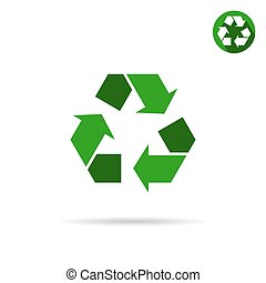 Green eco sign, 2d vector icon, flat style, illustration...