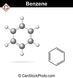 Benzene 3d molecular structure and 2d chemical formula, 2d...