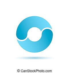 O letter sign, water circulation concept, 2d vector...