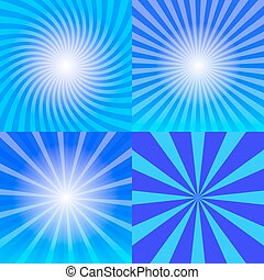 Sunray background set, four variants of blue sun rays, 2d...