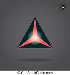 Black triangle with red hole, delta concept sign, 2d vector...
