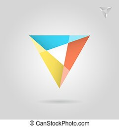 Mosaic triangle logo sign, 2d vector illustration on grey...