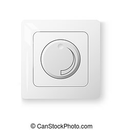 White dimmer power switch, realistic 3d illustration, vector...