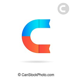 C letter logo template, magnet concept, north and south...