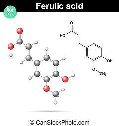 Ferulic acid chemical molecule, 2d and 3d vector...