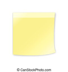 Empty yellow sticky note, 3d realistic vector object, eps 10